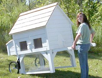 Wheels and handles: moveable chicken coop as seen on Martha Stewart (green, white, or barn red)