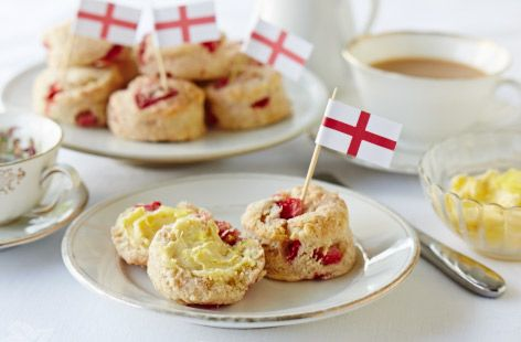 Strawberry scones with lemon butter #recipe - a British classic