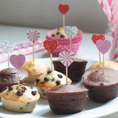 12 décorations pailletées pour gâteaux et cupcakes, forme coeur