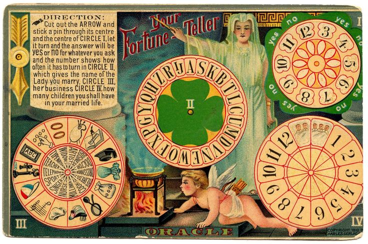 Divination:  Cut out the pieces, then put them together to create your own Wheel of Fortune.