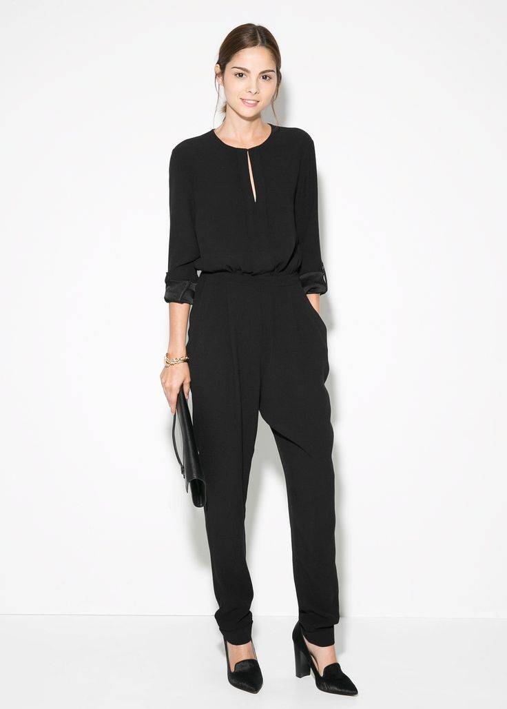 Flowy long black jumpsuit, MANGO, 60 pounds
