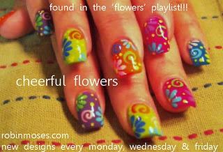 retro rainbow flowers nail art nails robin moses tutorial    www.youtube.com/watch?v=MlrufBJolgU