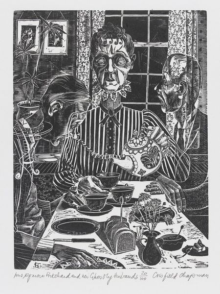 Mrs Ogmore Pritchard and Her Two Ghostly Husbands,  June Crisfield Chapman, print, 1960s | V&A Search the Collections #Halloween #Art