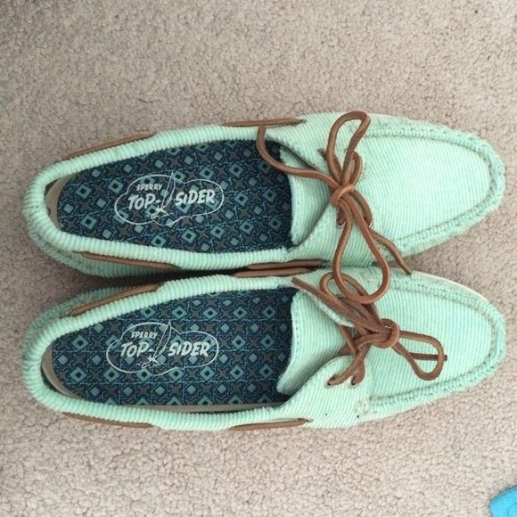 Mint Green Sperry's Mint green stripes sperrys (like a corduroy material) with brown leather ties. Never been worn outside and brand new! (As seen in 4th pic) there is some pink on the bottom of one shoe (not sure where it is from though). Ordered from the online sperry store. Sperry Shoes