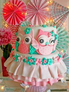 Gorgeous cake at an Owl Party!  See more party ideas at CatchMyParty.com!  #partyideas #owl