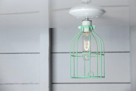 Industrial Ceiling Light  Mint Green Wire Cage by IndLights