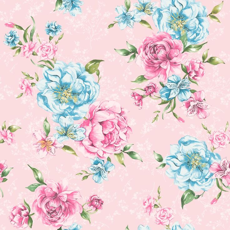 Josephine Floral Wallpaper Pink Blue 98864