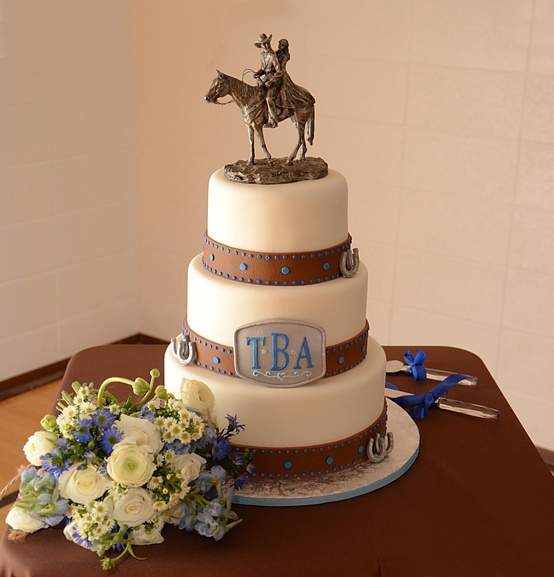 """Western Wedding Cakes. Love the monogram on the belt buckle  If I ever marry the cowboy I have pinned in """"Warms My Heart,"""" this might be our cake."""