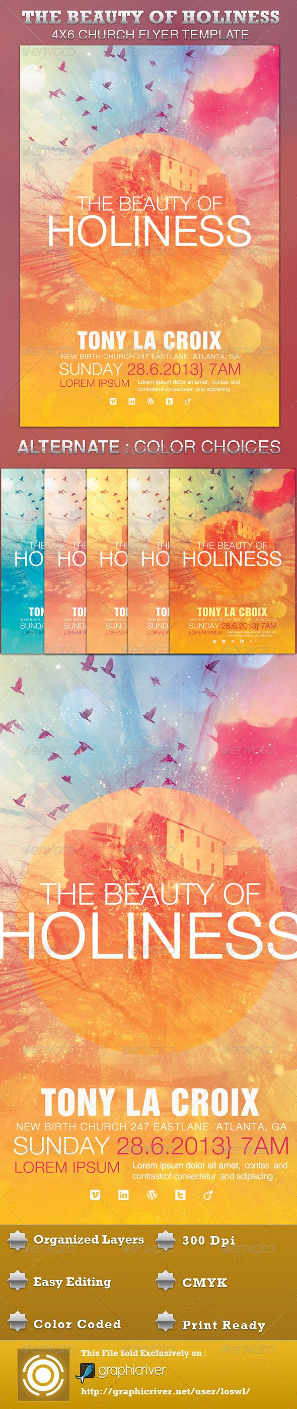The Beauty of Holiness Church Flyer Template is great for any Church Event. Use it for Gospel Concerts, Pageants, Musical Events and Sermons, etc. The layered Photoshop files are color coded and organized in folders for easy editing. The file also contains 6 – One Click Color options. $6.00