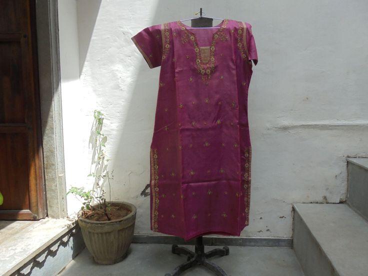 Beautiful Pure Silk Vintage Kurta with Flower Work Embroidery. by LallibhaiIndia on Etsy