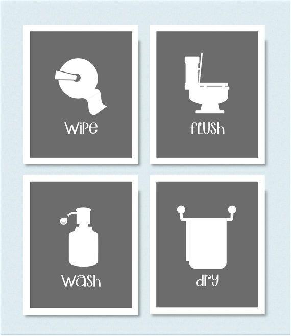 Bathroom Art Flush Toilet: Wipe Flush Wash Dry Bathroom Prints Set Of 4 By