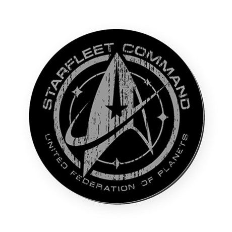 Vintage Starfleet Command Cork Coaster on CafePress.com - Description: A fan inspired Star Trek design. A grey Starfleet command emblem with stylized delta symbol and stars, with a worn and cracked texture for a retro, vintage look.