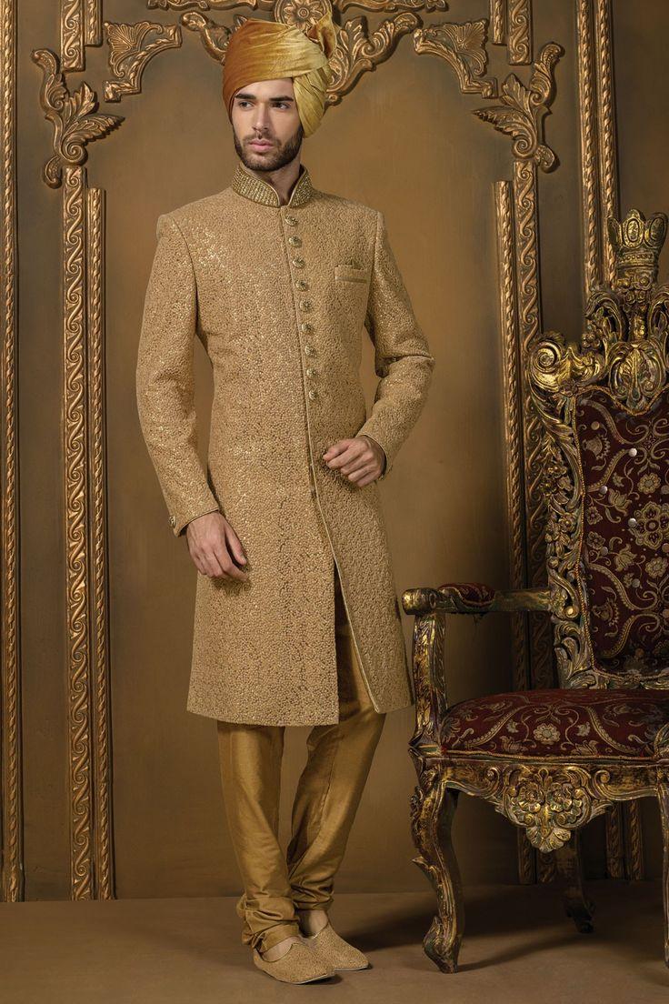 #Gold pure #silk mesmerized #jodhpuri bandh gala #sherwani with standing collar -IW321