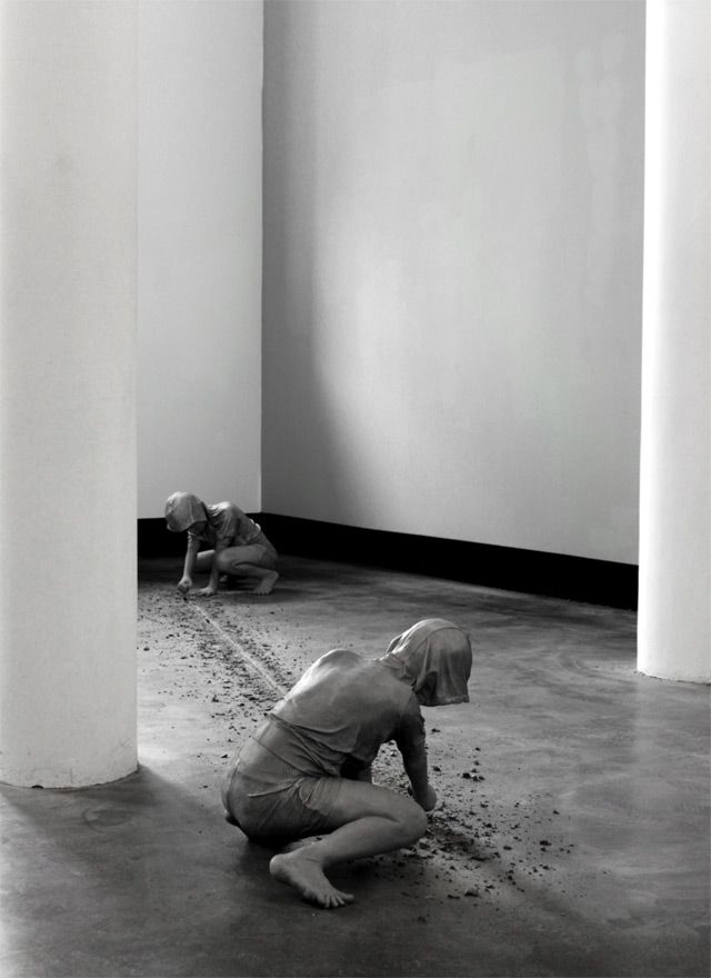 Gregor Gaidas Aluminum Boys Destroy Art Gallery Floors sculpture installation