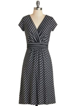 Casual Decorum Dress in Black Stripes. Your politeness is natural, just like the charm you ooze in this black-and-grey striped dress, which boasts a surplice V-neck and cap sleeves! #grey #modcloth