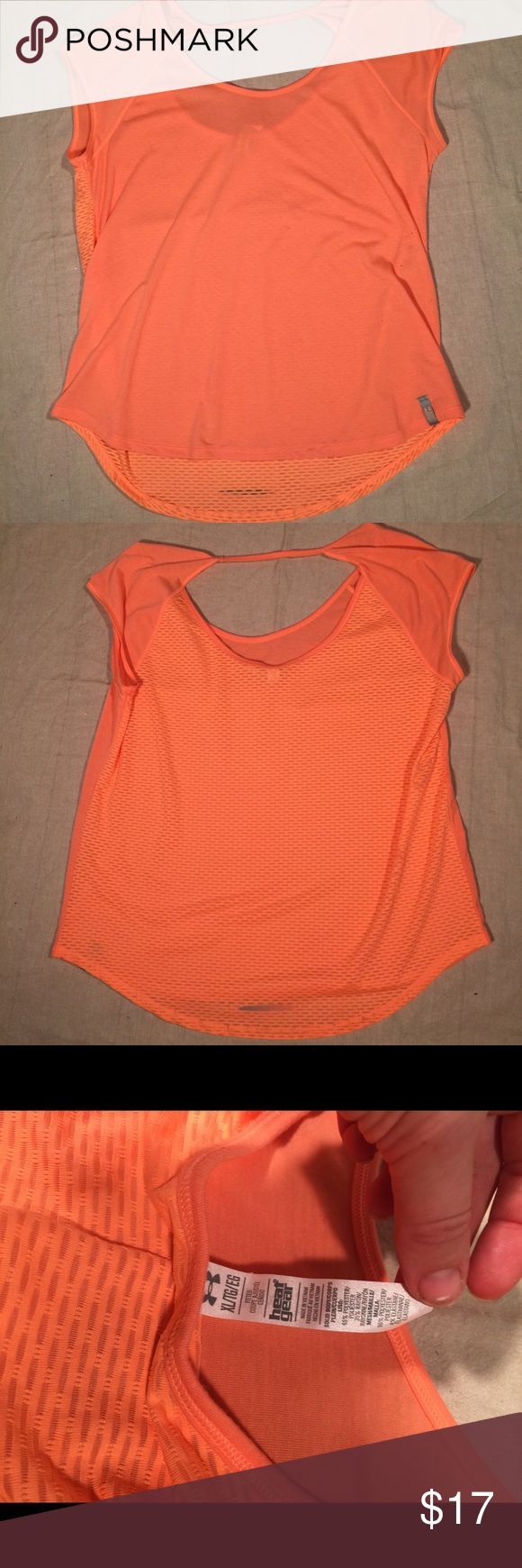 Under Armour Orange Backless Lightweight Top XL Great Under Armour athletic top. Orange with different textures panels on front and sides. Open back with cross strap. Size women's XL Under Armour Tops Tees - Short Sleeve