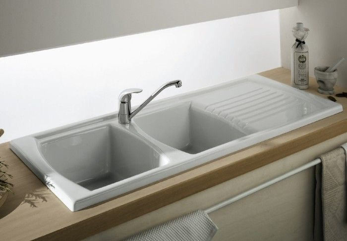 Drop In Double Bowl Fireclay Sink with Drainer - 1200 x 500 x 220 mm - Including Basket Wastes