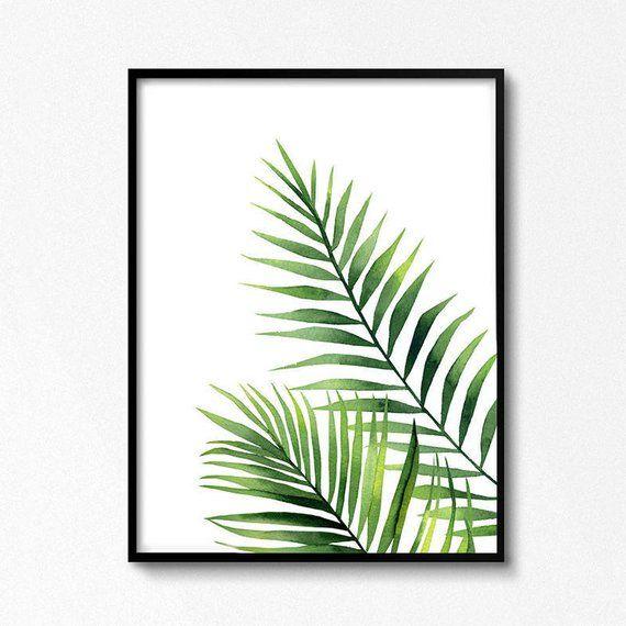 Watercolour leaves. Palm Branch watercolour. Tropical plant Artwork. Watercolour painting. Palm printable. Leaf poster. Kitchen art decor