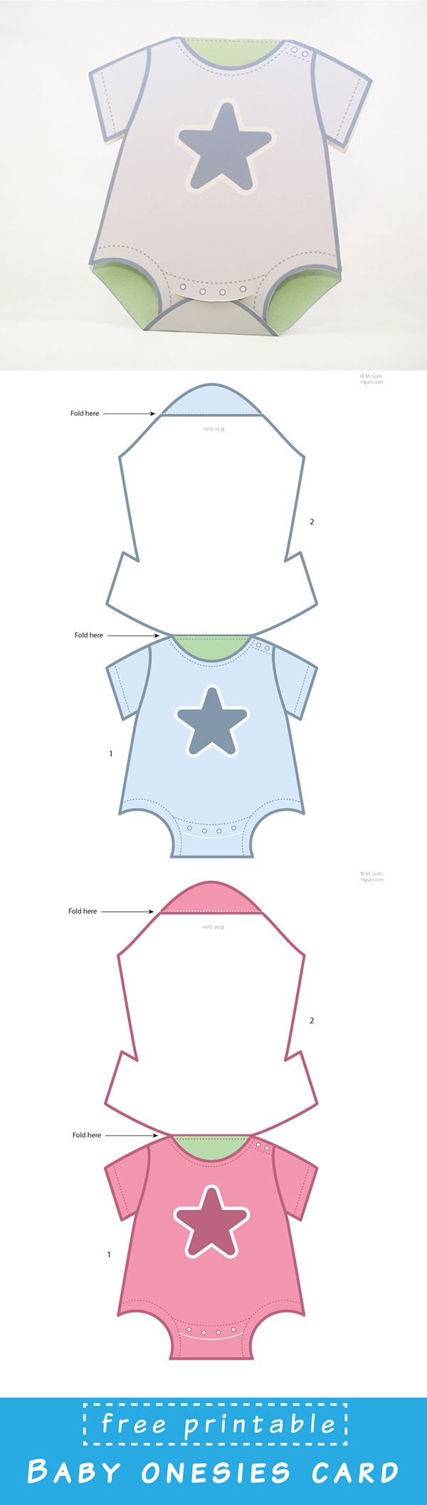 Free Printable Baby Onesies Card template. Just dowload and assemble.