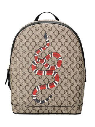 23ed6d890c0 Gucci Mochila GG Supreme estampa  Kingsnake  Acessórios Femininos