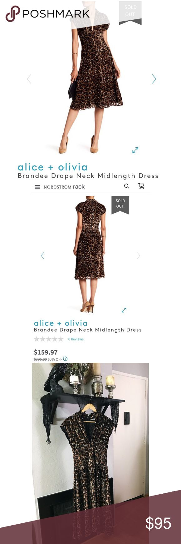 """Alice + Olivia Vintage Mid Length Dress Absolutely stunning vintage style, drape neck, mid length dress by Alice + Olivia. Leopard pattern in luxurious burnout velvet. Very nicely made, pre-worn and in excellent condition.  Dress originally priced at $395, before being marked down to $160 at Nordstrom Rack and sold out.   Size 0 - 32"""" Bust with deep V Neck/26"""" Waist/A-Line Skirt Flares to about 40"""" at hi  Dress Length is Approx 43.5""""  Shell: 75% viscose, 25% silk Lining: 94% polyester, 6%…"""