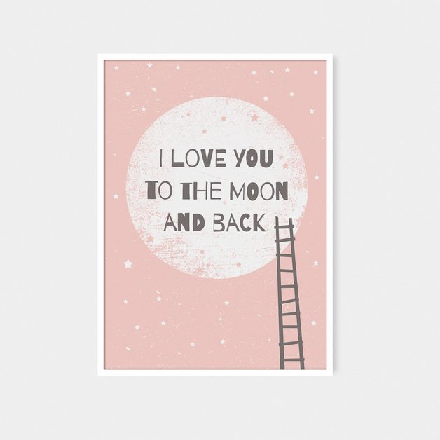 I love you to the moon and back II |  plakat A3