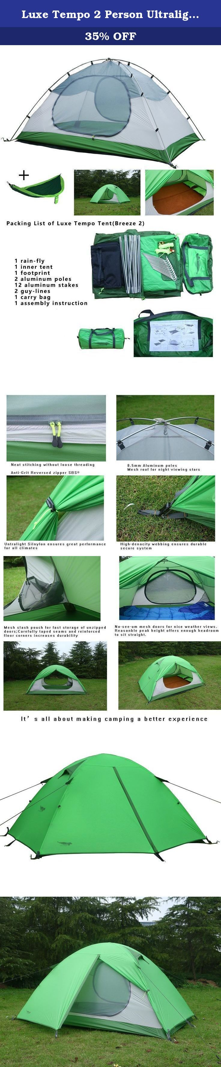 Luxe Tempo 2 Person Ultralight Tents for Camping 3.3LB with Footprint High-end Silnylon Backpacking Tents with Free Hammock Aluminum Poles 2 Doors 2 Vestibules. Designing Note: Luxe Tempo Breeze 2 is a high-end expedition tents features lightweight constructions. Equal-length corded aluminum poles and pole clips makes setup very easy. Fully taped silnylon rain fly and tent floor greatly reduces package weight while enhancing the weather-proofing performance to 5000mm. Tent canopy is a...