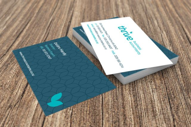 Thrive Business Accountants business card and logo graphic design by Robertson Creative, Christchurch, New Zealand.