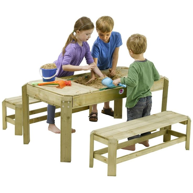 Good Plum Premium Wooden Activity Sandpit Table with Benches All Round Fun