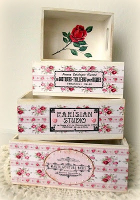 How to Decoupage Shabby Stacking Boxes