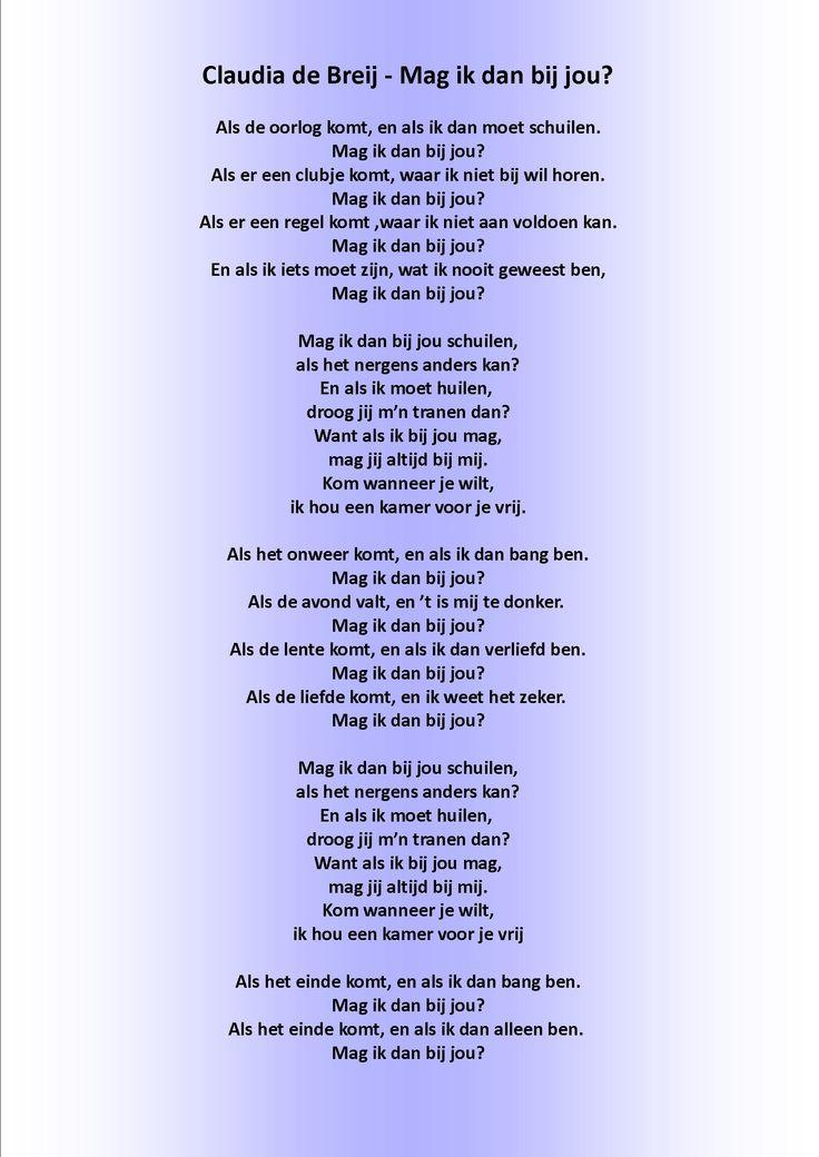 Beroemd Voorkeur Tekst Claudia De Breij #SPT97 - AgnesWaMu &WY73