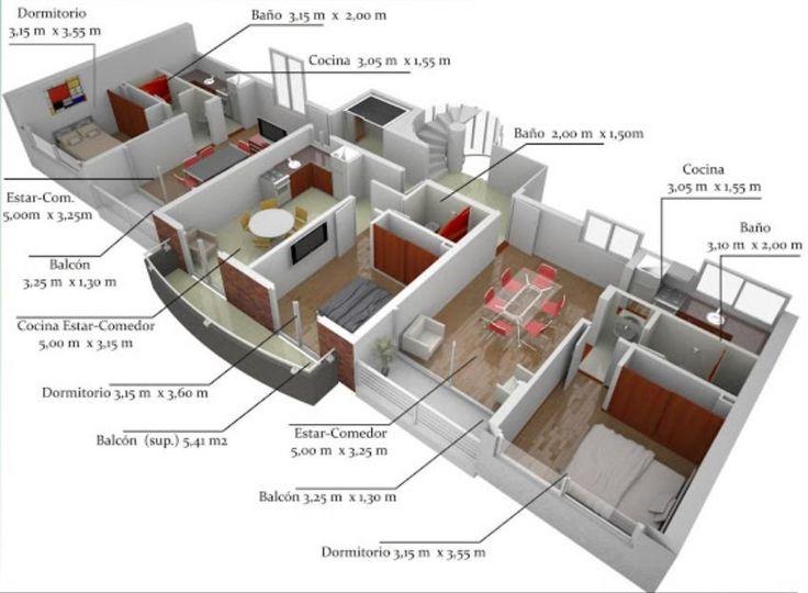 Resultado de imagen de planos de casitas de 75 mtr cuadrados