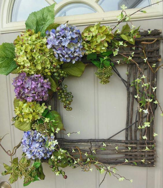 """SALE...SALE...SALE... Spring / Summer Grapevine square wreath - """"Wild Beauty""""... Gorgeous for year round use... Spring wreath on Etsy, $89.00:"""