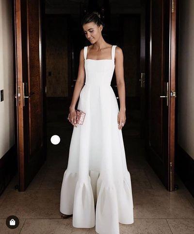 White party dress spaghetti straps evening dress satin long prom dress