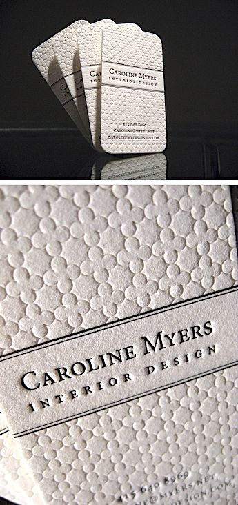 On These Business Cards Imparts A Textural Effect That Is Unique To The Letterpress Process Were Printed For Interior Designer Caroline Myers