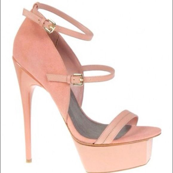 Adrienne Maloof Val High Heel Practically brand new! Color : Med Pink Material: Suede open toe Width: Med 5.5 heel.... This heel is fierce! Fit like a 8 1/2 or 9 Adrienne Maloof Shoes