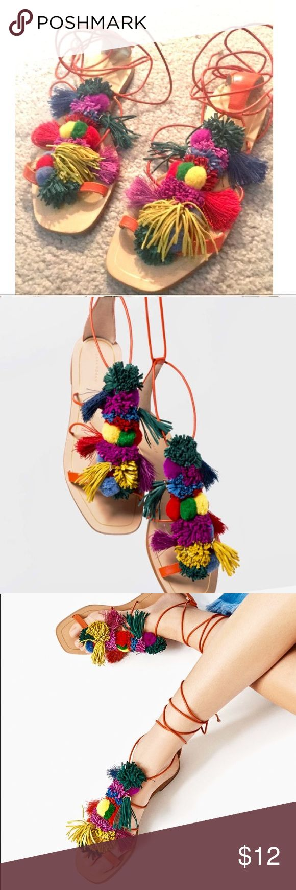 ZARA PomPom Gladiator Tie-Up LEATHER Sandals 40 10 SOLD OUT zara Pom Pom tie up Sandals - so chic and cute, all-day shoe.  Worn on vacation 3 days!! Bought in Milan. Very trendy Zara lace up sandals with pom poms. EXCELLENT condition, ready for you!   From a pet free and smoke free home. Any questions, please email me. Zara Shoes Sandals