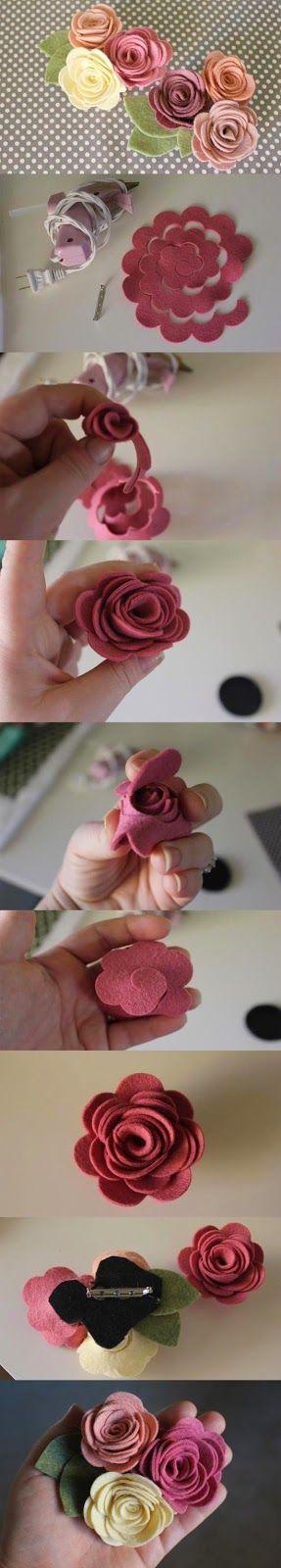 ARTE COM QUIANE - Paps,Moldes,E.V.A,Feltro,Costuras,Fofuchas 3D: presilha de flores de feltro passo a passo
