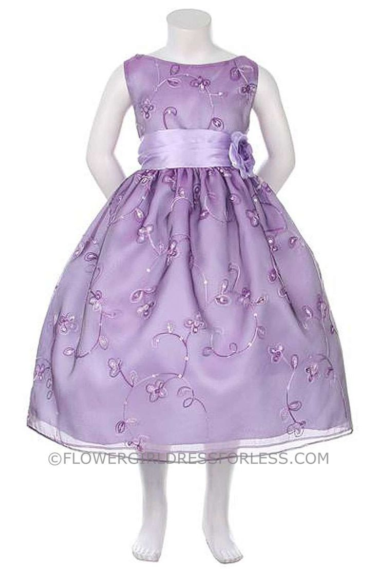 KK_1040PUR - Flower Girl Dress Style KK_1040PUR- Embroidered Organza Dress with Sequin Detailing - Purple - Flower Girl Dress For Less