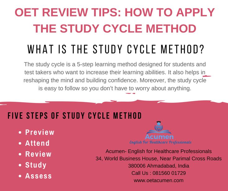 #OET Review #Tips: How to Apply the Study Cycle Method  #Enroll today at our #Baroda and #Ahmedabad Branch Help Line No. 081560 01729