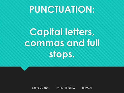 Types of punctuation and parts of speech (capitals, full stops and nouns).