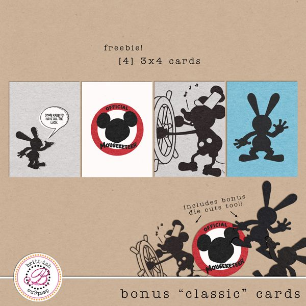 Classic Mickey Mouse Disney Cards for Project Life