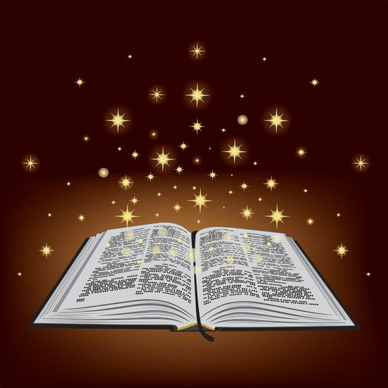 Hermosa gráfica de un Biblia abierta con estrellas doradas en el espacio encima ilustra la ceremonia de boda de oro Crónicas oficiales para Tito y Mercedes, en editoriallapaz.org.