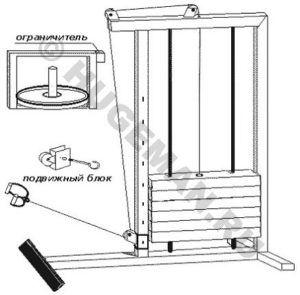 Тренажер с нижним блоком для развития мышцы спины. Эскиз, описание. Для самостоятельного изготовления.