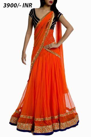 Elegant Orange Lehenga | Veeshack Shop