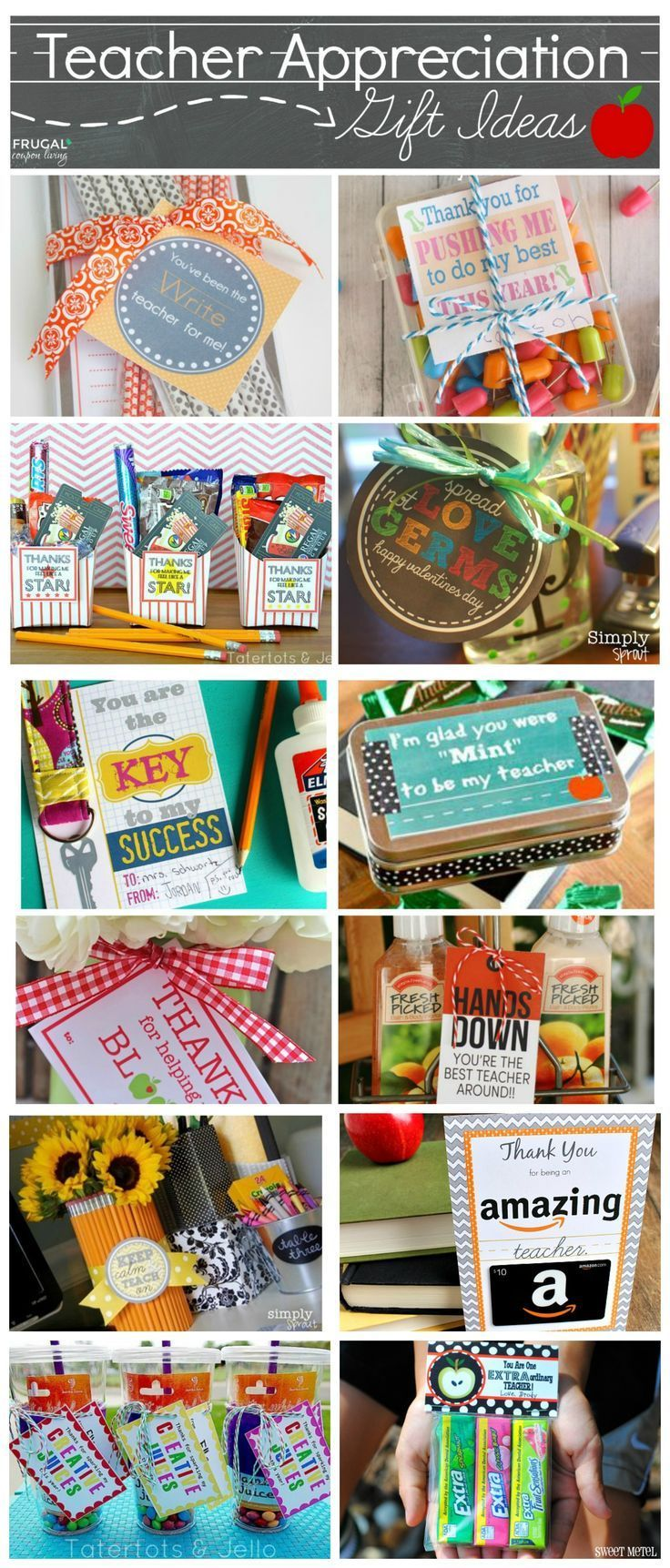 Easy and Creative Teacher Appreciation Gift Ideas plus FREE Printable Notes - Great resource for your child's classroom from Kindergarten to High School. Full list of ideas on Frugal Coupon LIving.