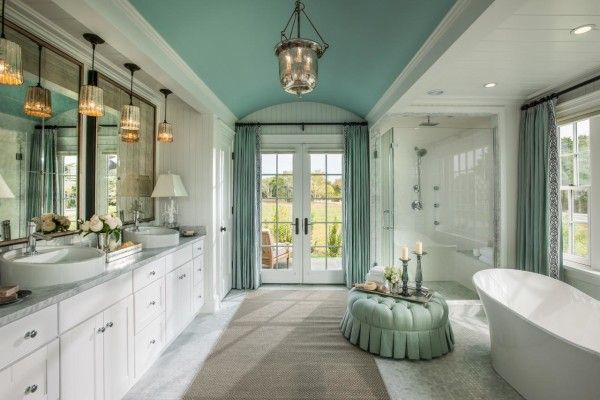 ... Image of Wondrous Coastal Cottage Bathroom Vanities with Glass Door Panels and Green Fabric Curtains Alongside ...
