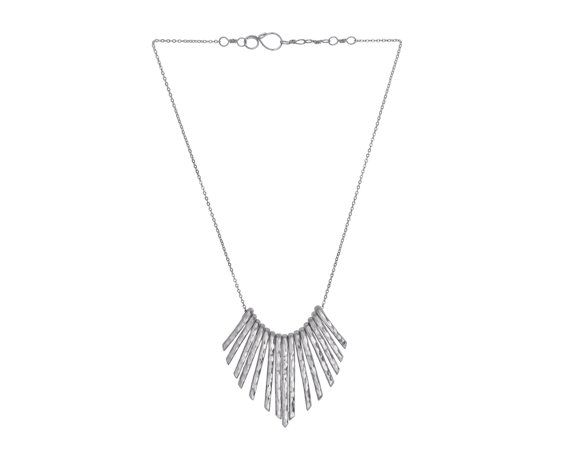 Silver Statement Necklace, Silver Fringe Necklace, Bib Necklace, Geometric Jewelry, Bib Necklace, Silver, Sister Gift, Woman Necklace