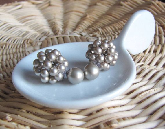 Platinum double sided earrings two sided earrings front back earrings double pearl earrings