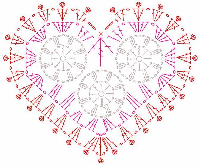 Crochet Heart with Circles - Chart ❥ 4U // hf  http://www.pinterest.com/hilariafina/